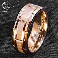 8mm Rose Gold Men Tungsten Carbide Ring Bushed Brick Pattern ATOP Wedding Band