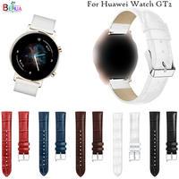 화웨이 워치 GT 2 용 가죽 교체 시계 스트랩 밴드, 삼성 갤럭시 워치 42mm 46mm 팔찌 밴드, 시계 밴드