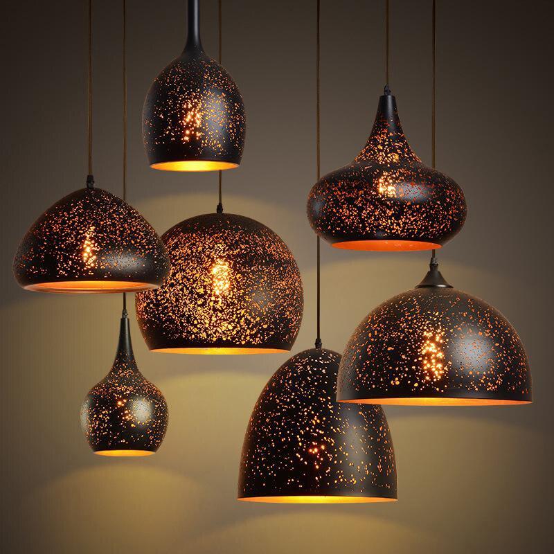 Vintage Etch Shade Schmiedeeisen Anhänger Licht Nordic Loft Industrielle Lampe Für Restaurant Esszimmer LED E27 Beleuchtung Leuchte