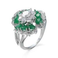 2019 여성을 위한 녹색 꽃 반지와 새로운 인기 판매 패션 실버 컬러 반지, 웨딩 약혼 럭셔리 최고의 선물