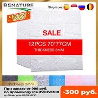 12 Pcs 홈 장식 월페이퍼 껍질과 스틱 3D 자기 접착제 벽 스티커 거실 침실과 어린이 방 벽돌 스티커