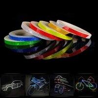 Fita de advertência luminosa, 6 cores, 8m, rodas, adesivo refletivo, aro, refletor de bicicleta, carro, decalque reflexivo
