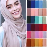 10pcs/lot Muslim Bubble Chiffon Hijab Scarf Women High Quality Solid Color Soft Shawls Wraps Islamic Head Scarves Ladies Hijab