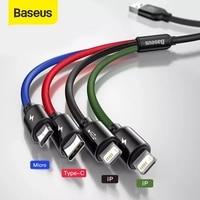 Baseus 3 in 1 USB Kabel Typ C Kabel für Samsung S20 Xiaomi Mi 9 Kabel für iPhone 12X11 Pro Max Huawei Ladegerät Micro USB Kabel