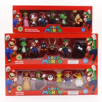 6Pcs/lot 3-7cm Super Mario Bros PVC Action Figure Toys Dolls Model Set Luigi Yoshi Donkey Kong Mushroom for kids birthday gifts
