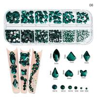 12Gird Box 멀티 사이즈 AB/다채로운 핫픽스 라인 석 플랫 백 크리스탈 다이아몬드 보석 3D 반짝이 네일 아트 고급스러운 장식 & *