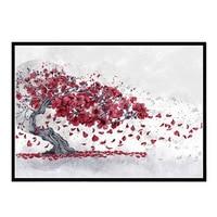 יפני בושידו 5D DIY יהלומי ציור צלב תפר דובדבן פריחת כיכר יהלום עגול פסיפס רקמה שחור אדום חדר דקור