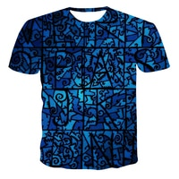 2021 Summer new 3DT men's casual 3d printing irregular personality pattern short-sleeved streetwear