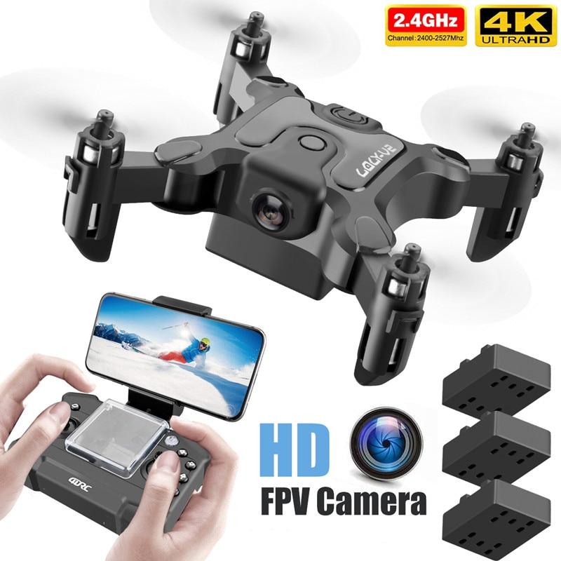 Mini Dron V2 4K 1080P HD Cámara WiFi Fpv presión de aire altitud plegable Quadcopter RC Dron chico juguete para regalo