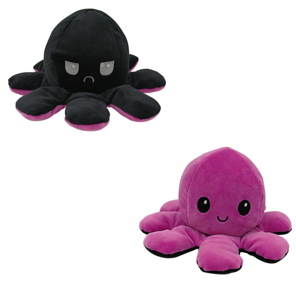 Mascot Stuffed Toy Plush-Toy Double-Sided-Octopus Funny Mood Pink Blue Kids Kawaii Children