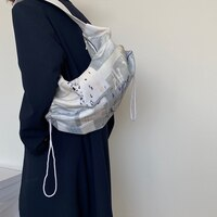 Fashion Design Women Canvas Print Shoulder Bag Large Capacity Ladies Drawstring Underarm Bags Student Travel Casual Tote Handbag