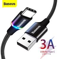 Baseus USB Typ C Kabel Für Samsung S20 S21 Xiaomi POCO Schnelle Lade Draht Schnur USB-C Ladegerät Handy USBC typ-C Kabel 3m