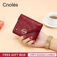 Cnoles מותג אמיתי עור נשים ארנק Bifold מצמד תיק עיצוב אדום מזהה כרטיס בעל מטבע ארנק גבירותיי קצר תנין ארנק