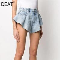 DEAT 2021 חדש קיץ אופנה רשת בגדי אור כחול ג 'ינס שטף כיסי רוכסנים מכנסיים תחתית נשית WL38605L