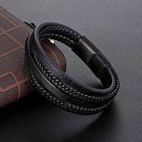 Pulseira de couro masculina geométrica, acessórios de aço inoxidável, combinação, bracelete, clássico, multicamadas, estilo de luxo para meninos bonitos, presente