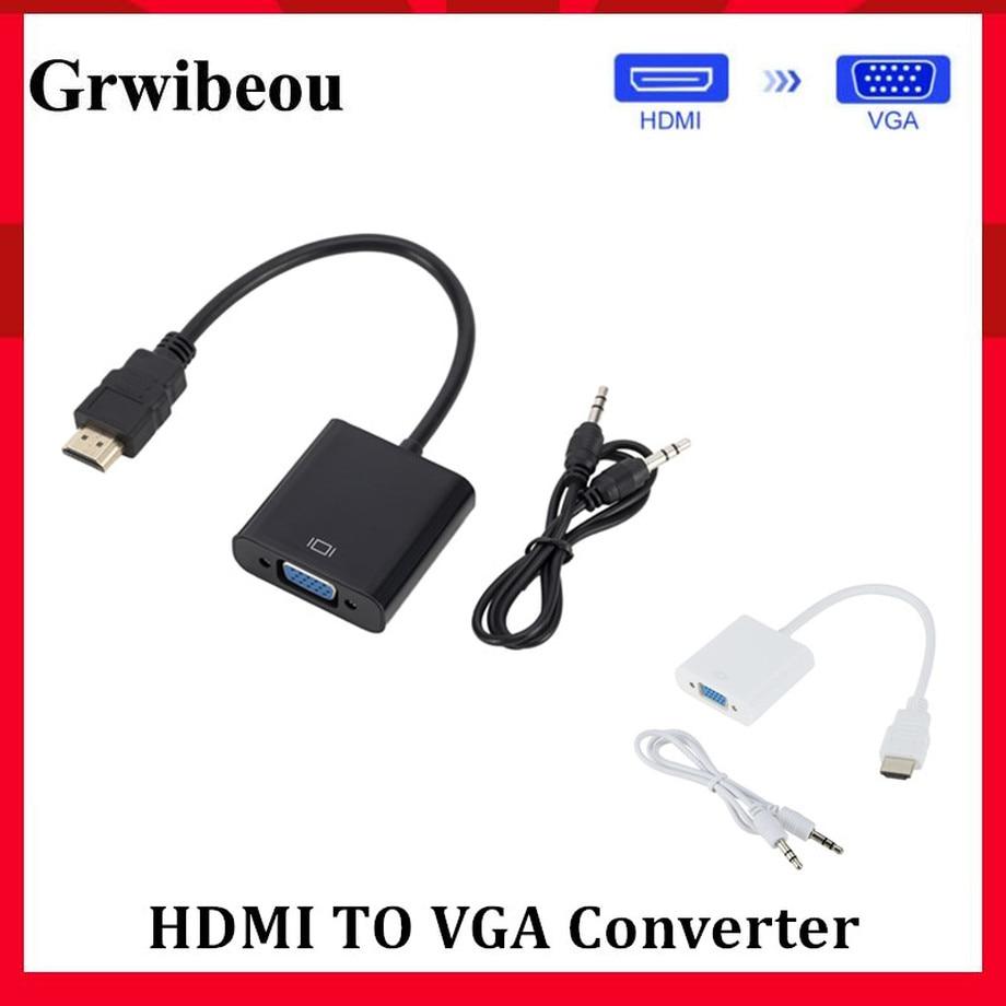 Grwibeou-Adaptador de HDMI a VGA macho a hembra, convertidor de HDMI a VGA, adaptador de 1080P Digital a Audio de vídeo analógico para tableta