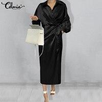 Celmia מזדמן OL Midi שמלה אלגנטית גבירותיי סאטן דש ארוך בת שרוול כיסא גלימה 2021 נשים של אופנה עטוף תחבושת vestidos
