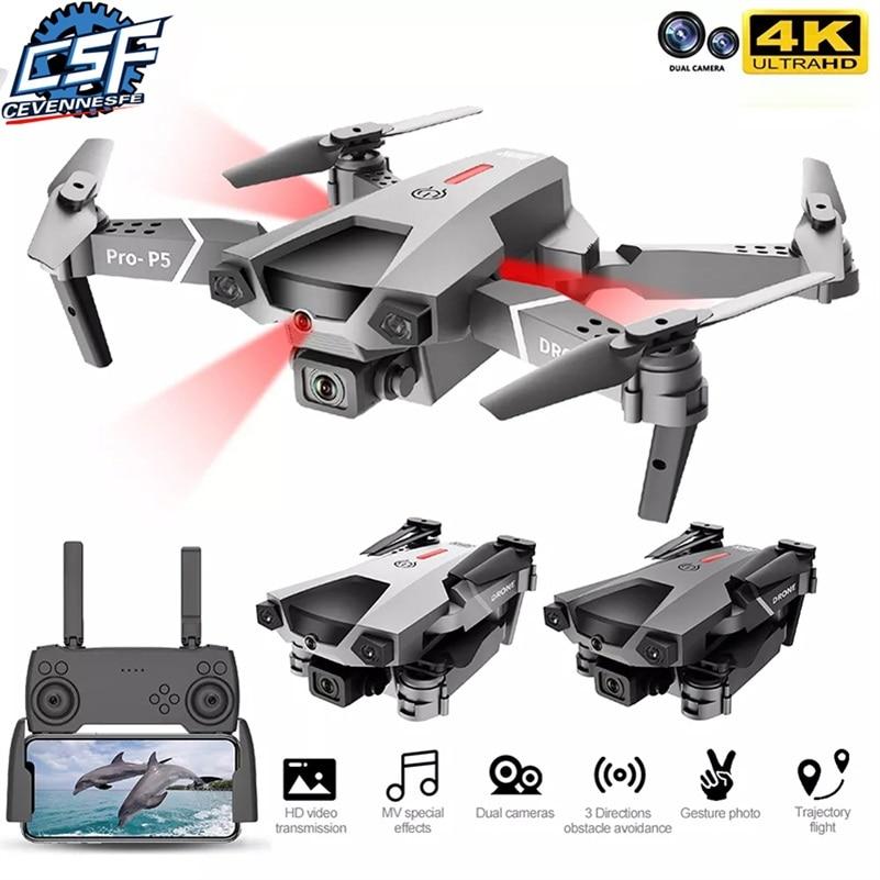 2021 Nuevos drones con cámara P5 con cámara HD 4k Fpv Evitación de obstáculos infrarrojos Quadcopter plegable helicópteros de radiocontrol Juguetes para niños Regalos