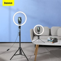 Baseus Dimmable LED Selfie טבעת אור עם חצובה USB Selfie טבעת מנורת צילום למלא אור עבור Youtube Tiktok טלפון בעל