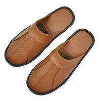 Men's Luxury Cow Split Leather Handmade Men Home Slippers Spring Slip on Soft Comfortable Black Brown Bedroom Indoor Flat Shoes