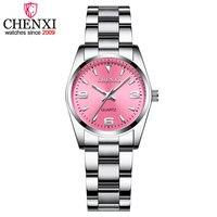 CHENXI moda różowy zegarki tarczowe dla kobiet 2019 wysokiej jakości kwarcowy zegarek elegancka sukienka zegarki damskie relojes mujer 2019