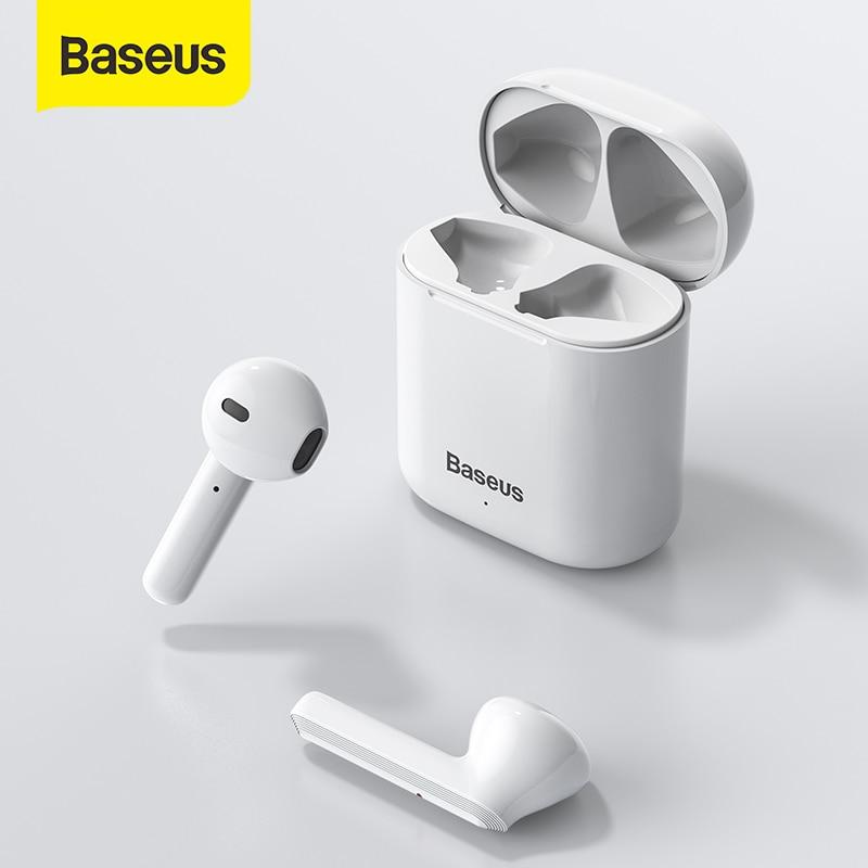 Baseus-auriculares TWS inalámbricos por Bluetooth, Auriculares deportivos estéreo con micrófono para todos los teléfonos inteligentes