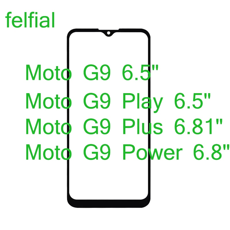 10 unids/lote para Motorola Moto G9 más G9 jugar delante de Lentes de vidrio exterior G9 de pantalla táctil LCD Panel de vidrio con OCA hueco pegamento