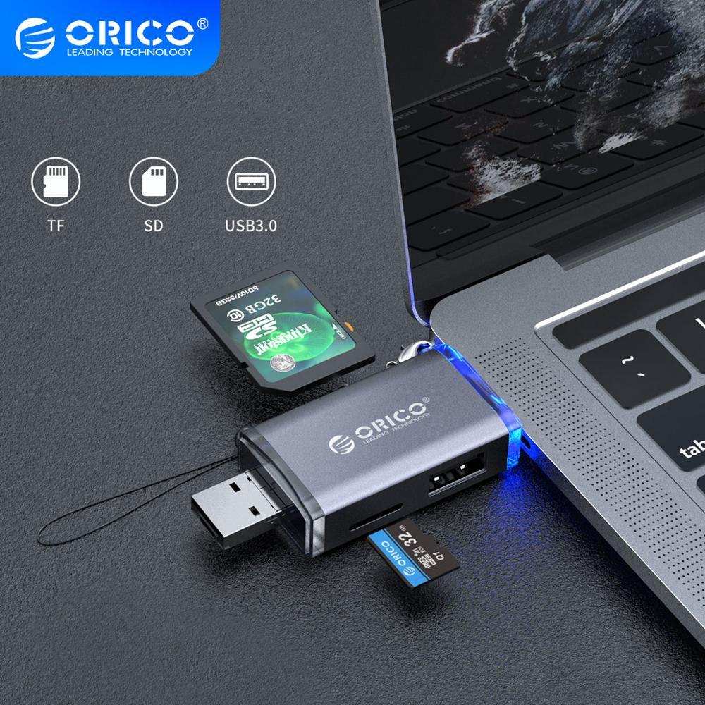 ORICO-lector de tarjetas OTG, USB 3,0, Micro USB 2,0 tipo C a SD, Micro SD, TF, adaptador de tarjeta inteligente, multimemoria SD para ordenador portátil 6 en 1
