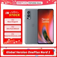 Globale Version OnePlus Nord 2 5G Handy 6,43 Zoll Flüssigkeit AMOLED 90Hz Dimensity 1200-AI Octa Core 65W Warp Ladung NFC