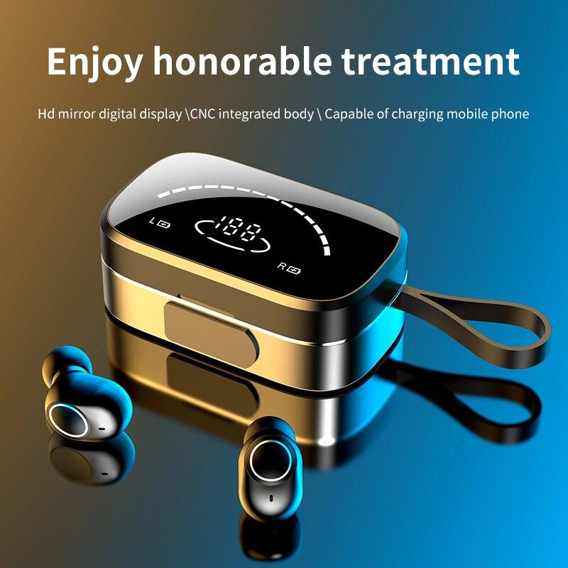 Auriculares TWS Bluetooth 3500mAh, auriculares inalámbricos con pantalla LED, caja de carga, deportivos, resistentes al agua, con micrófono