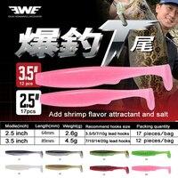 EWE 17 개/몫 64 미리메터 soft lures T 꼬리 Soft swimbait wobblers 낚시 Lure 실리콘 12 개/몫 89 미리메터 인공 미끼 대 한 bass 물고기