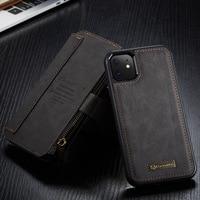 Caseme高級本革フリップケースiphone x xs xr 7 8プラスカバーリムーバブル磁気電話ケースiphone 11 12プロマックス