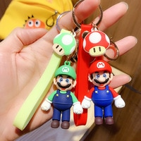 2021 Cartoon Super Mario Mario Bros Luigi Mushroom Character Dolls Keychain Pendant Cute Mario Keychain Creative Birthday Gift