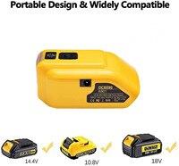 Dewalt 20v Max 18V 배터리 어댑터 업그레이드 DCB090 전원, 듀얼 USB DC 12V LED 작업 표시등 포함