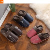 2021 xiaomi mijia new PU lint slippers non-slip men women couples winter warm home indoor cotton slippers wholesale