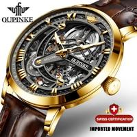 Luxury Men Mechanical Wristwatch Automatic Watch Men Classic Skeleton Leather Top Brand OUPINKE Transparent Sapphire Waterproof