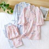 Pijamas japoneses nuevos de Estilo Dulce para mujer, traje de Kimono de verano para primavera y otoño, con mangas de tres cuartos, para el hogar