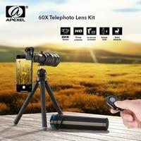 APEXEL HD 60X Telefon Kamera Objektiv Teleskop Objektiv Super Tele Zoom Monokulare Erweiterbar Stativ Mit Fernbedienung Für Android iOS