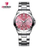 Luksusowa marka CHENXI moda różowe zegarki tarczowe dla kobiet wodoodporna stal nierdzewna zegarek damski darmowa wysyłka Horloges Vrouwen
