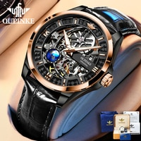 OUPINKE Luxury Watch for Men Automatic Mechanical Sapphire Leather Waterproof Sports Skeleton Wrist Watches Brand reloj hombre