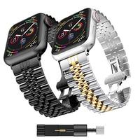 Apple 시계 용 금속 스트랩 6 5 4 SE 밴드 40mm 44mm iwatch 용 금속 교체 용 스트랩 3 2 42mm 38mm 금속 스테인레스 스틸 스트랩