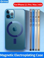 Grma Mag 자기 안전 투명한 명확한 전기 도금 프레임 전화 케이스 Apple iPhone 12 13 Pro Max 12 미니 하드 뒷면 커버