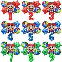 Cute Super Mary Mario Balloon Cartoons Birthday Party Aluminum Balloons Game Theme Children's Birthday Party Decoration Balloon