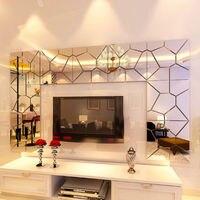 옷장 거울 벽 스티커 DIY 3D 깃털 거울 벽 스티커 룸 전사 벽화 아트 홈 인테리어