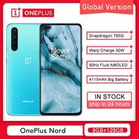 Globale Version OnePlus Nord 5G 8GB 128GB Smartphone Snapdragon 765G 6.44 ''90Hz AMOLED 48MP quad Warp 30T Handy