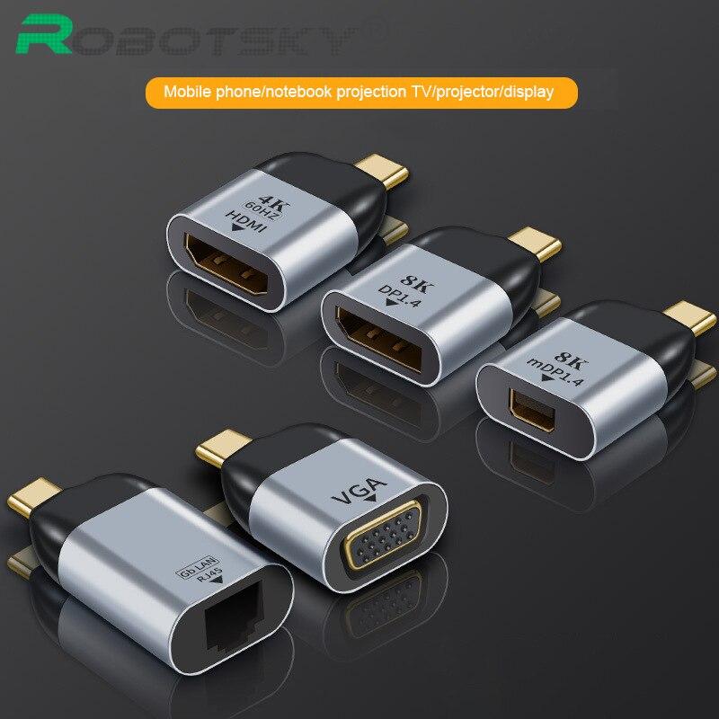 Type C to HDMI-Compatible / VGA / DP / RJ45 / Mini DP 4k 60hz video converter Type-C Adapter For Macbook Huawei Mate 30 USB-C