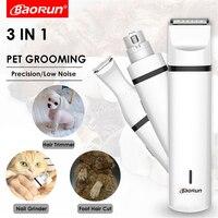 BaoRun-3 인 1 충전식 애완 동물 미용 키트, 애완 동물 클리퍼, 개/고양이 털 트리머, 발 네일 그라인더, 발 커터, 헤어 커팅 머신