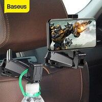Baseus 2 in1 רכב משענת ראש וו עם טלפון מחזיק חזרה מושב וו עבור תיק תיק אטב מושב אחורי ארגונית משולב קליפ