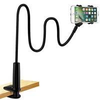אוניברסלי טלפון בעל מיטת שולחן קליפ עצלן גמיש Gooseneck קלאמפ ארוך זרועות הר עבור iPhone 8/7/6 מיטת שולחן טלפון נייד בעל