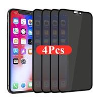 1-4個30度プライバシースクリーンプロテクターiphone 12 11プロマックス12ミニアンチスパイ保護iphone xs xr × 7プラス